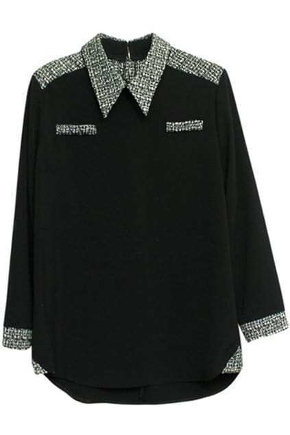 Spliced Tweed Black Shirt