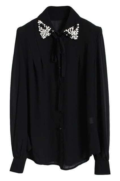 Pearls Collar Ties Black Shirt