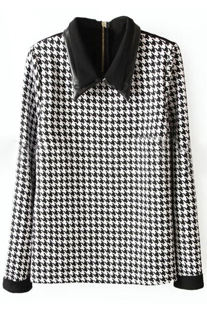 Splicing Black-white Houndstooth Blouse