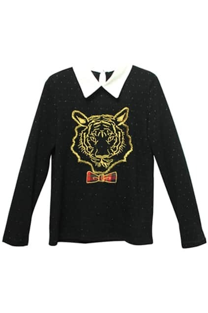 Tiger-head Embroidery Black Blouse