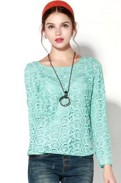 Lace Flower Blue Blouse
