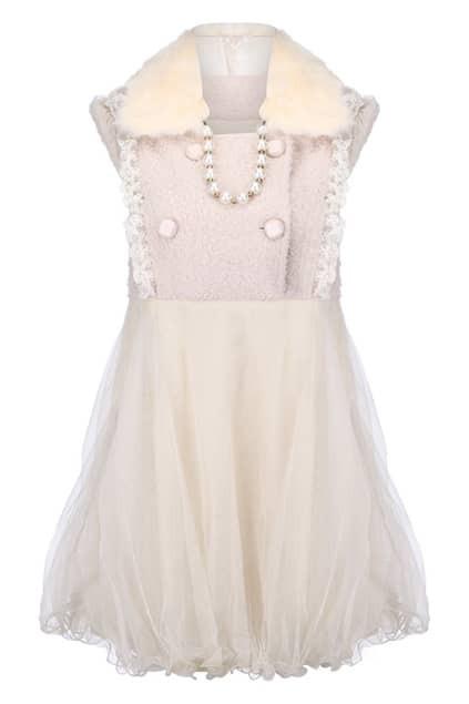 Faux Fur Collar Tweed Dress