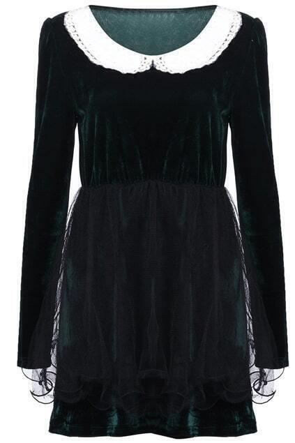 Mesh Splicing Blackish Green Shift Dress