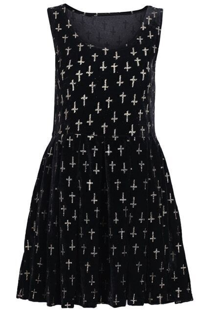 Sleeveless Golden Crosses Embellished Black Dress