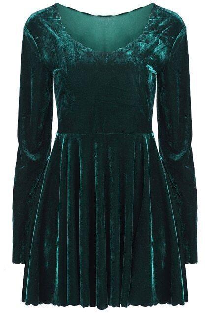 Lace Collar Green Dress