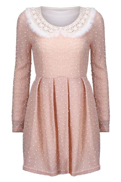 Lace Collar Diamond  Dots-embellished Pink Dress