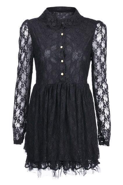Single-breasted Doll Collar Black Lace Dress