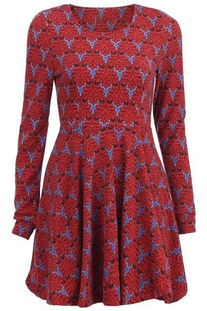 Pleated Leaf Print Red Dress