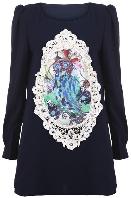 Beads Embellished Owl Dark-blue Dress