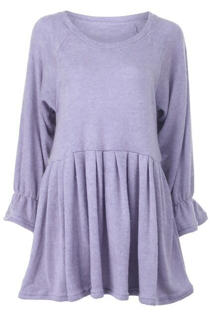 Flare Sleeves Light-purple Dress