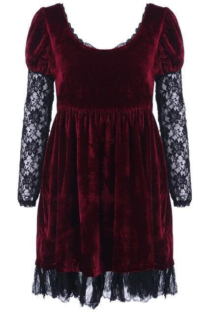 Splicing Hollow Red Dress