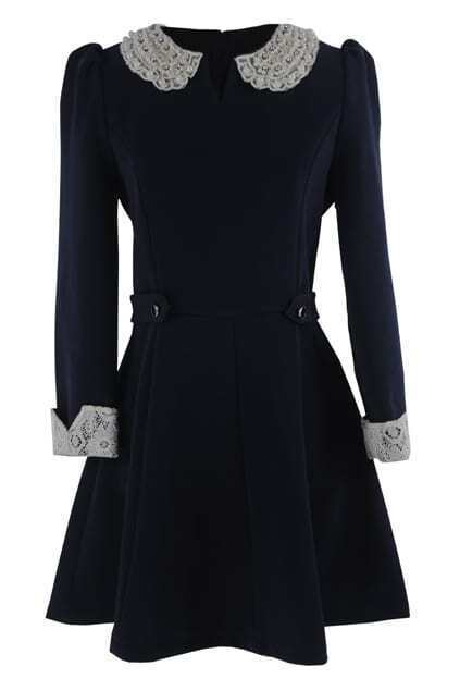 Beaded Collar Navy Blue Dress