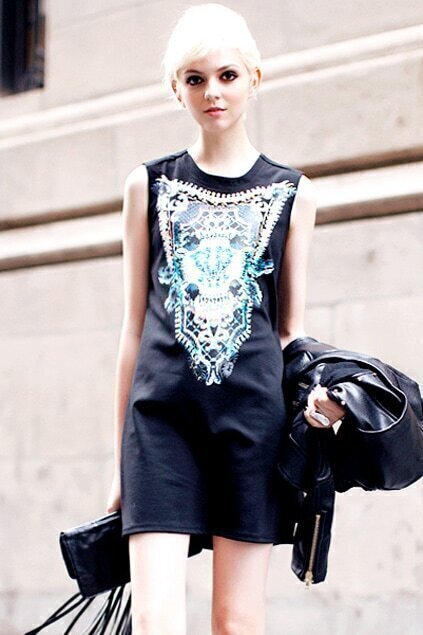 Beads Embellished Abstract Print Black Dress