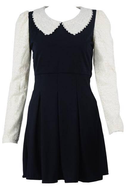 Spliced Lace Pleated Dark-blue Dress