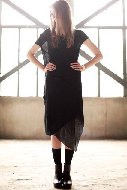 Double Layers Asymmetry Folding Black Dress
