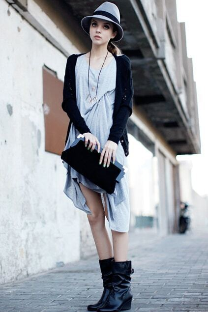 Sleeveless Whiskering Grey Dress