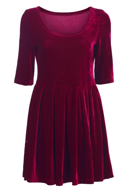 Burgundy Velvet Fifth-Sleeve Dress
