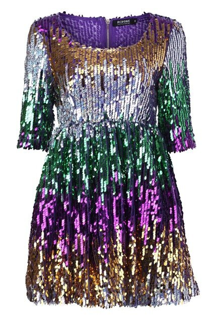 Paillettes Multi-color Shift Dress