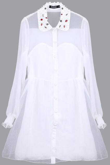 White Beaded Collar Mesh Dress