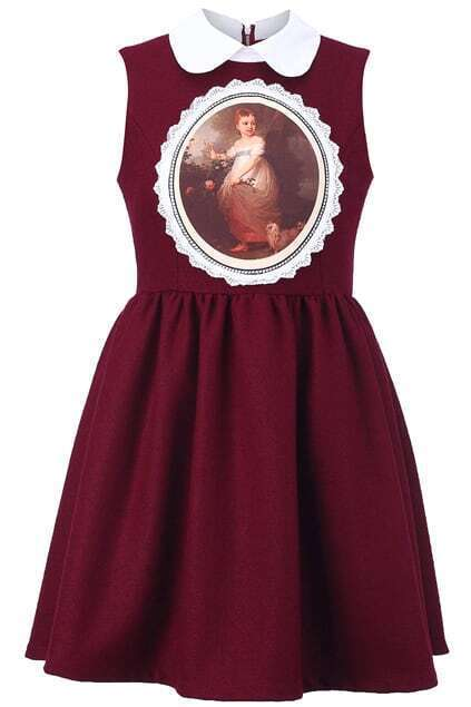 Burgundy Sleeveless Peter Pan Dress