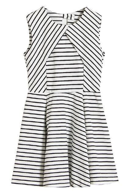 White Stripe Cut-out Back Shift Dress
