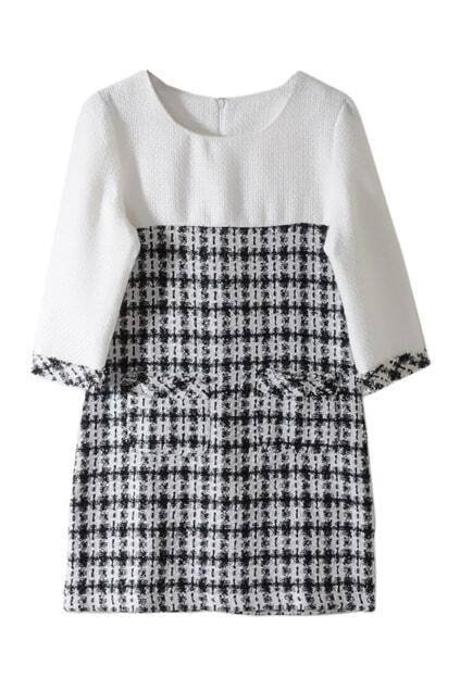 Lattices Block White Dress