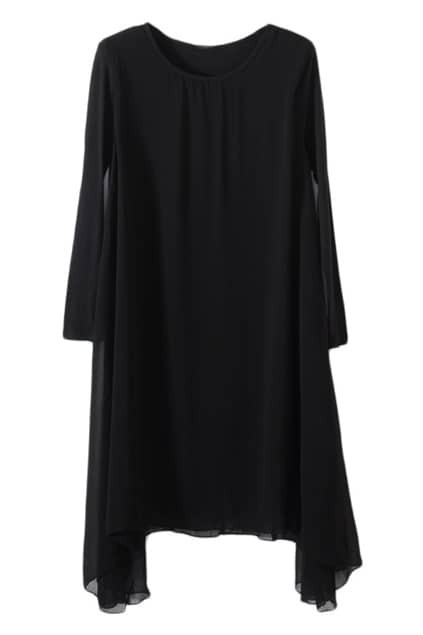 Chiffon Spliced Black Dress