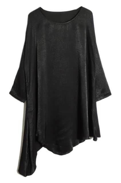 Oversized Asymmetric Falbala Black Dress