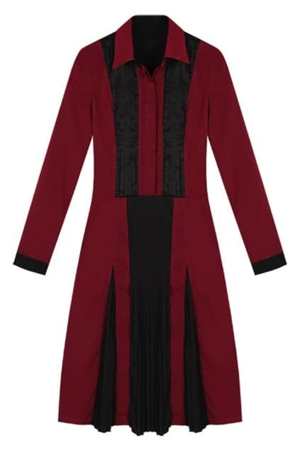 Pleat Color Block Wine-red Shift Dress