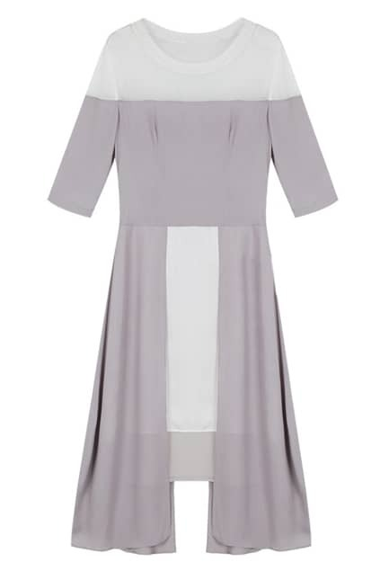 Mesh Splicing Light Grey Shift Dress