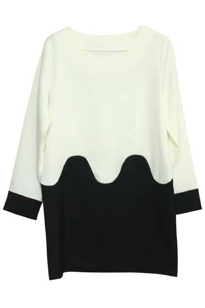 Contrast Main White Wave Pattern  Dress