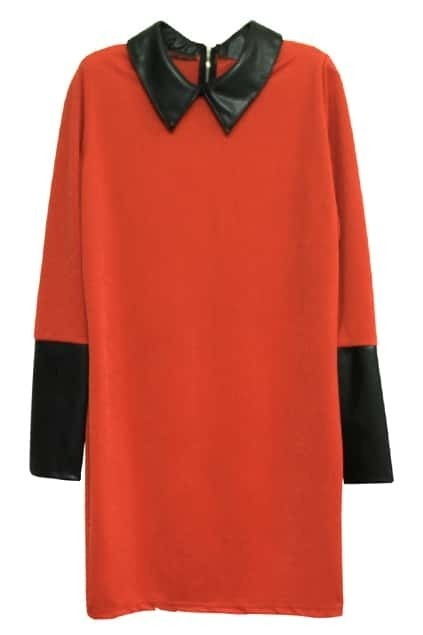 Brief Zippered Sharp Collar Orange Dress
