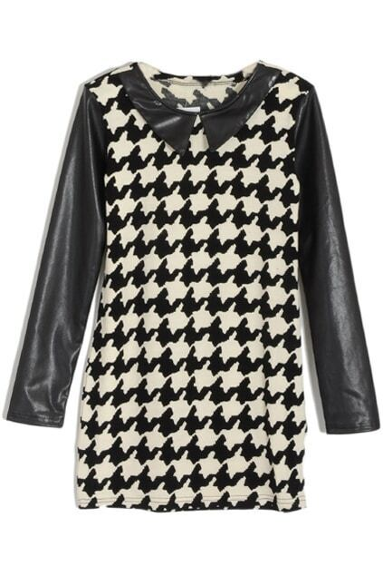 Houndstooth Print Vinyl Collar Black-white Dress