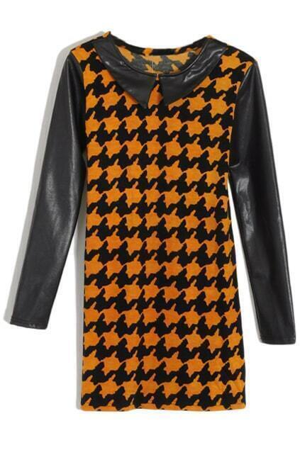 Houndstooth Print Vinyl Collar Orange Dress