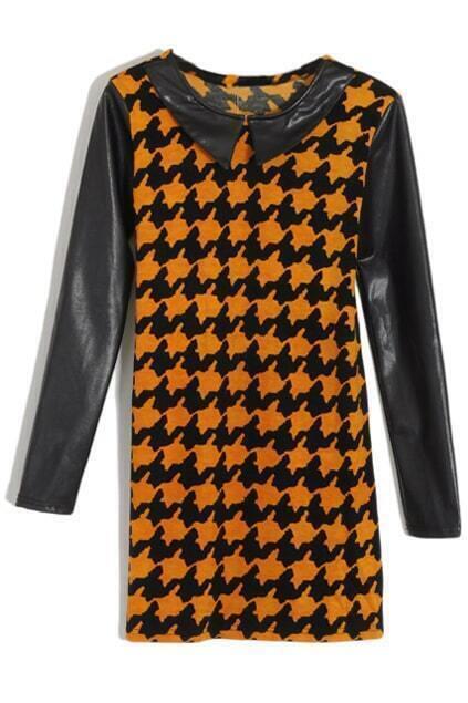 Houndstooth Print Vinyl Collar Orange Dress