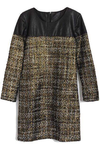 Metal Style Black-golden Slim Montage Dress