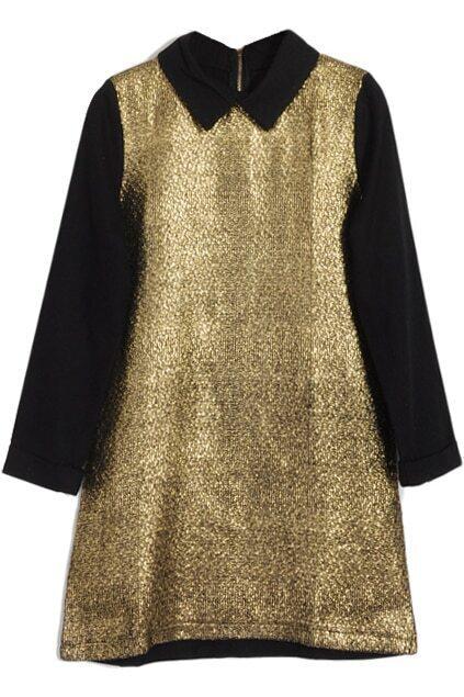 Retro Design Golden Metal Lapel Dress