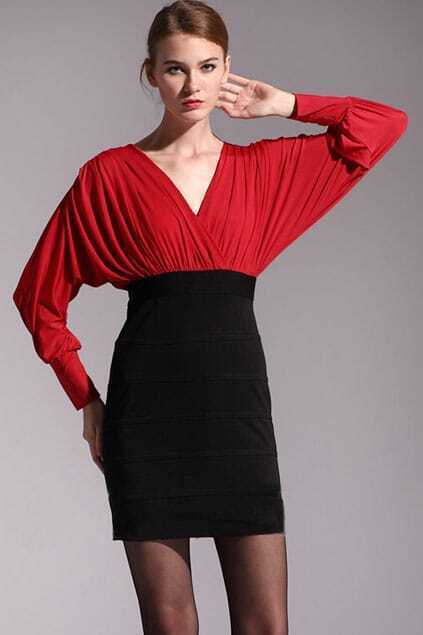 Magyars V-neck Pleated Red Dress