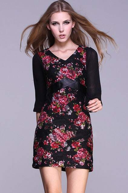High Waist Lace Print Floral Dress
