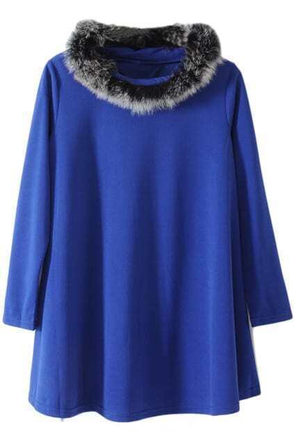 Faux Fur Blue Dress