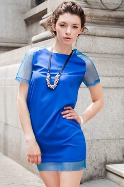 Trasparent Sleeves Blue Dress