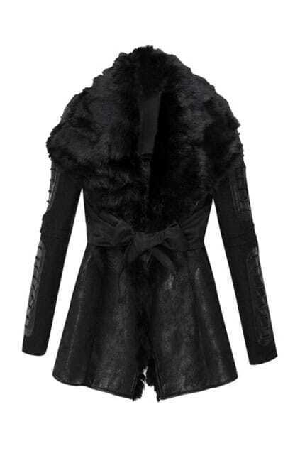 Faux Fur Collar Suede Coat