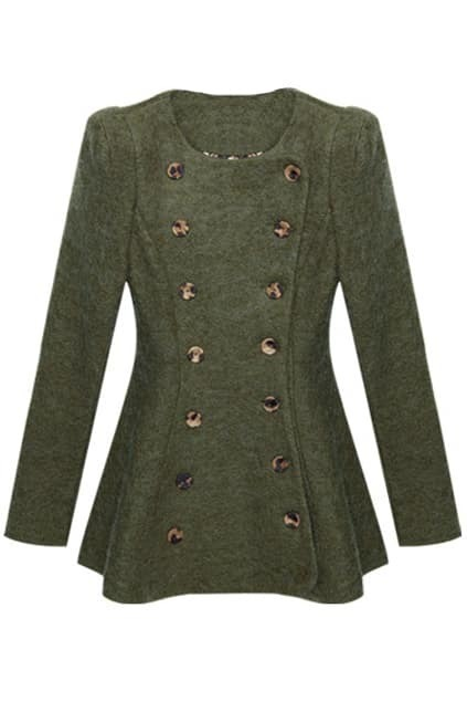 X-shaped Outline Double-breasted Army Green Coat