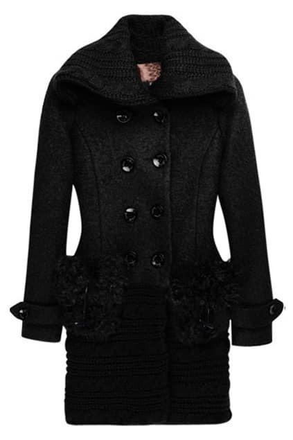 Fur Splicing Pocket Lapel Black Overcoat