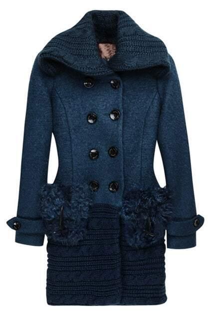 Fur Splicing Pocket Lapel Sapphire-blue Overcoat