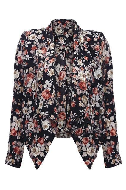 Floral Print Drape Coat