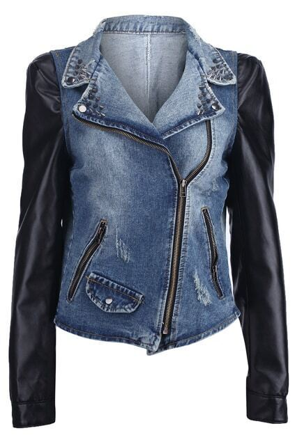 Leather Sleeve Blue Denim Coat