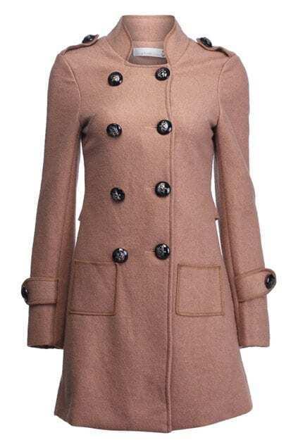 Double Breasted Khaki Woolen Coat