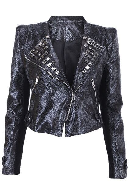 Snakeskin Embossment Rivet Black Jacket