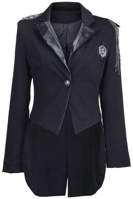 Asymmetric Single Button Black Coat